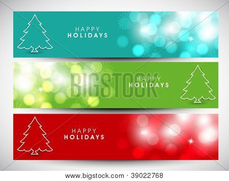Happy Holidays website header or banner with beautiful snowflakes and Xmas tree. EPS 10.