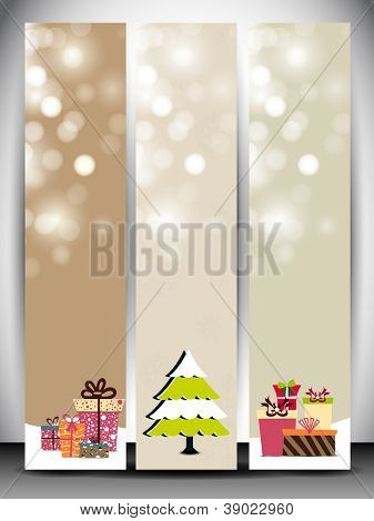 Happy Holidays website banner with beautiful snowflakes, Xmas trees and gift boxes. EPS 10.