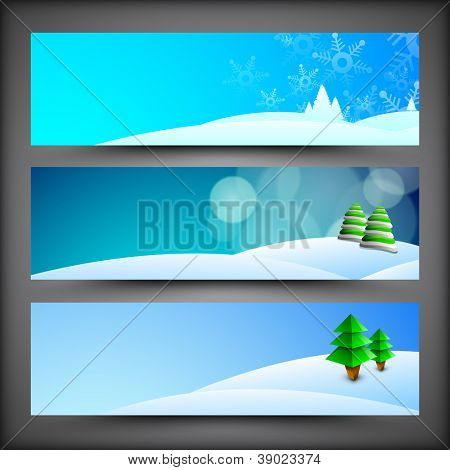 Merry Christmas website headers or banners with Xmas tree on winter background. EPS 10.