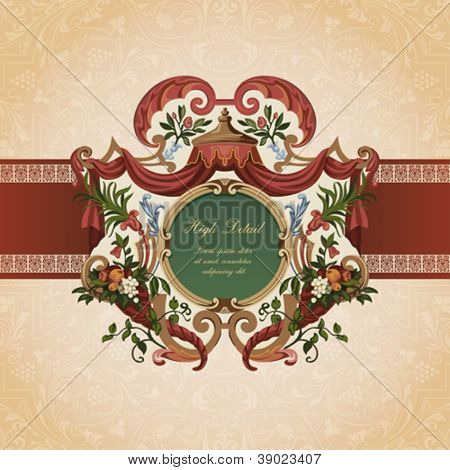 Vintage Card Design. Floral ornament.  Flourish pattern background. Retro Wallpaper. Vector. Copyspace.