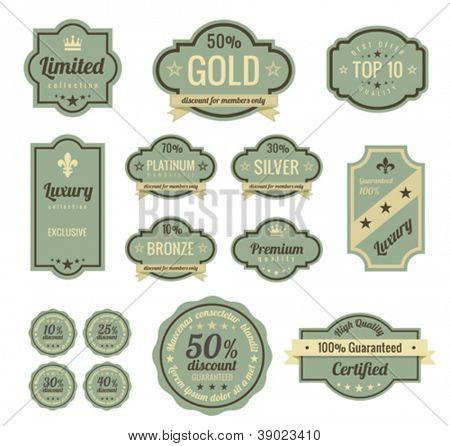 Vintage Labels set. SALE, Discount, Membership, Premium Quality, Exclusive label designs. Badge icons. Retro  logo template. High quality vector.