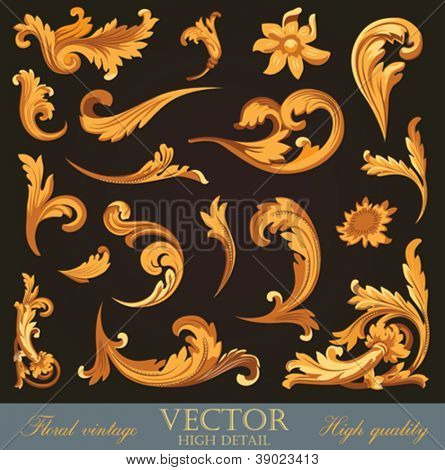 Gold Vintage Elements. High detail Floral ornament.  Flourish pattern. Merry Christmas & Happy New Year. Vector.