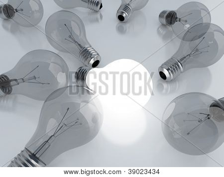 many light bulbs and one is on