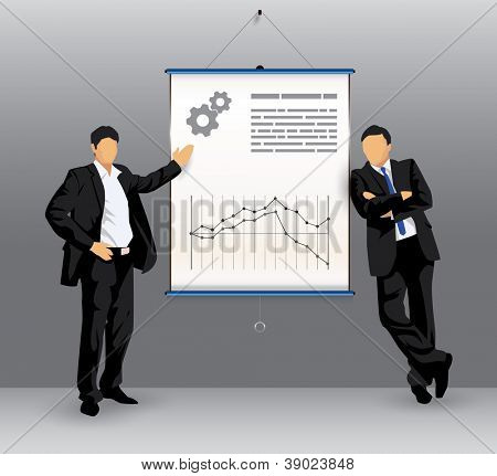 Illustration of silhouettes of business people in front of a presentation board