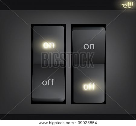 An illustration of two illuminated switches showing the on and off options