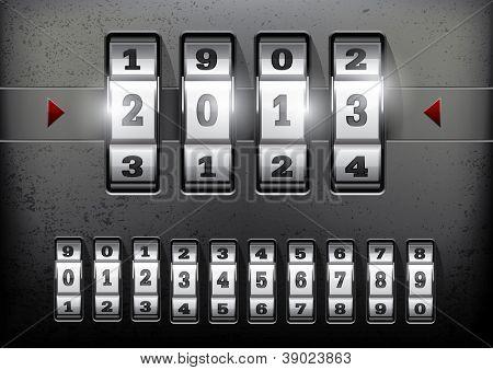 Cerradura de combinación que muestra el número del año 2013