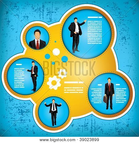 Blue and gold grunge effect workflow chart depicting a businessman in various roles, with space for insertion of your own text