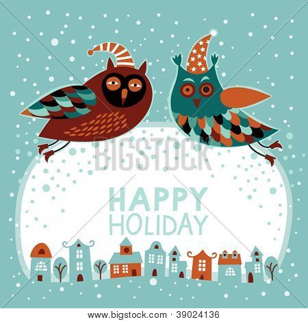 Christmas and New Year card with owls