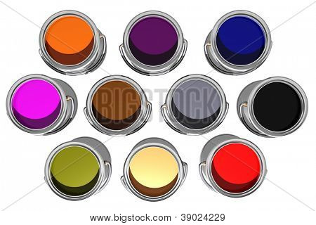colorful inks in paint cans isolated on white - Top view. 3D image.