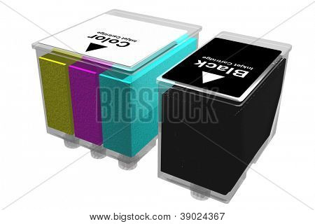 Transparent inkjet cartridges isolated on a white background. Three dimensional image.