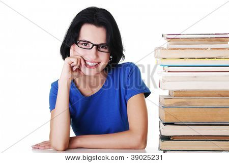 Happy smiling young student woman with books, isolated on white background