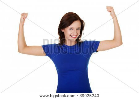 Young student woman showing her biceps, isolated on white