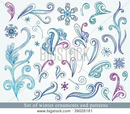 Doodle winter design elements