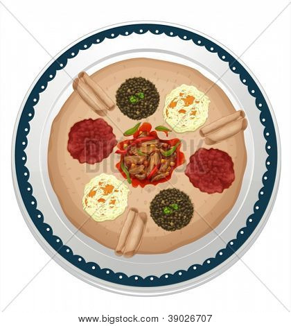 illustration of various dips in a dish on a white background