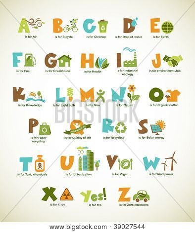 Ecology green alphabet with collection of vector design elements and symbols viewfinderchallenge3