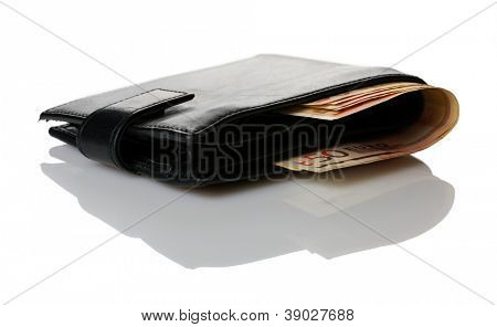 Brieftasche mit Euro-Banknoten isolated over white background