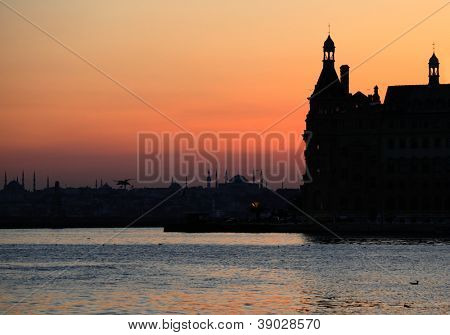 Sunset over the Bosporus passage in Istanbul, Turkey