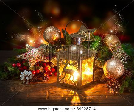 Christmas Scene. Holiday Greeting Card Design
