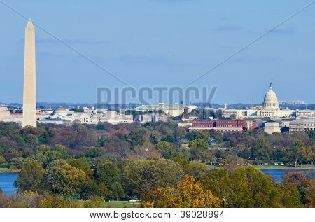 Washington DC skyline in autumn with Washington Monument, United States Capitol building and Potomac River