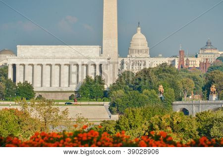 Washington DC city view in a cloudy autumn day, including Lincoln Memorial, Monument and Capitol building