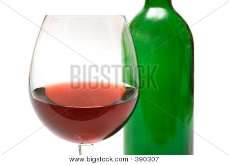 Wine Glass W/ Background Bottle