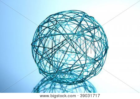 beautiful decorative ball, on blue background