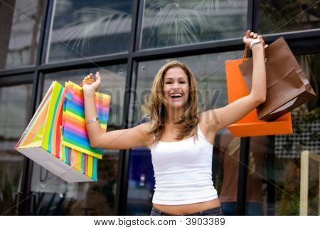 Casual Woman With Shopping Bags
