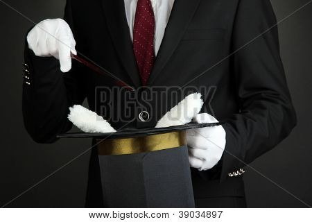 magician performance on dark background