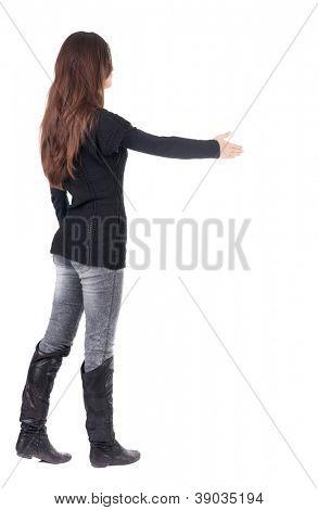 Vista traseira da empresária estende a mão para apertar as mãos. Coleção de pessoas de vista traseira. o de vista traseira