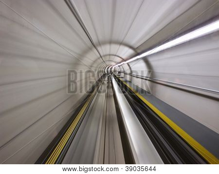 Going trough the underground tunnel (Zurich airport)