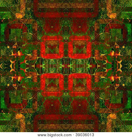 art eastern national traditional pattern in red and green colors