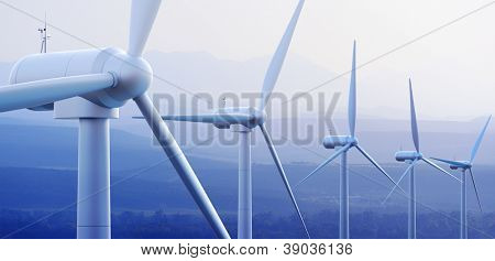 Wind turbine farm against distant mountains (3d graphic)