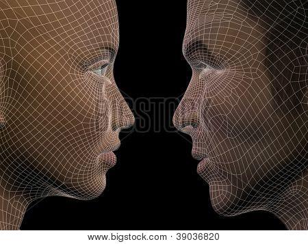 Conceito de alta resolução ou conceitual 3D wireframe masculino ou feminino cabeça humana isolada em backg preto
