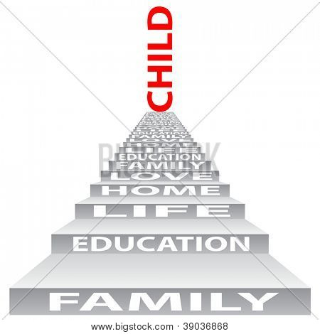 High resolution concept or conceptual 3D stair or steps isolated on white background as a metaphor for child,family,education,life,home,love and for school,learn,wisdom ,success,teach or achievement