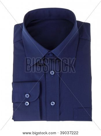A new dark blue man's shirt isolated over a white background