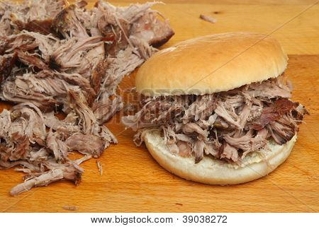 Hog roast or pulled pork roll.
