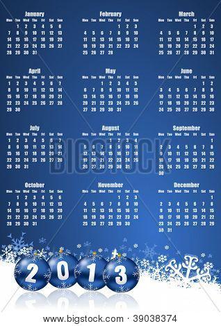 new years 2013 calendar with christmas balls