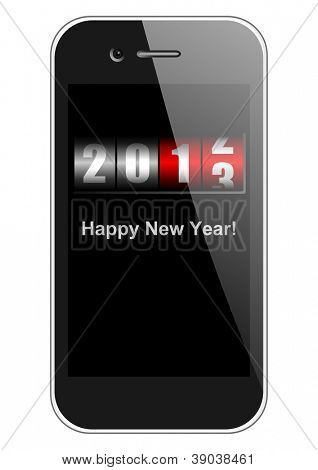 2013 new years illustration with mobile phone and counter