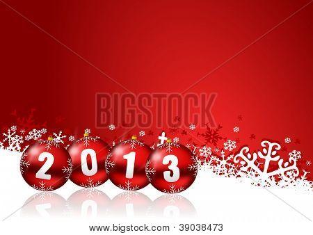 ilustração de ano novo de 2013 com bolas de Natal
