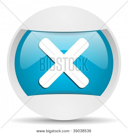 cancel round blue web icon on white background
