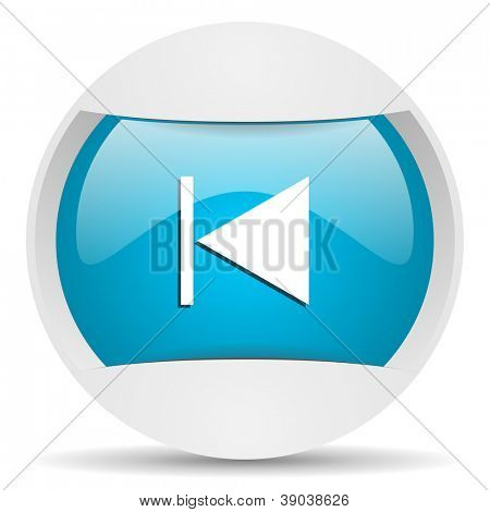 prev round blue web icon on white background