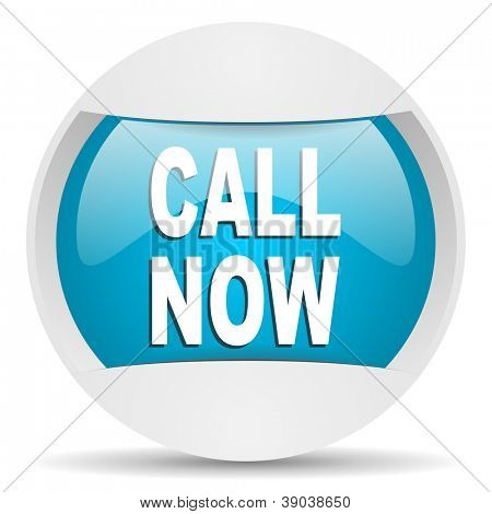 call now round blue web icon on white background