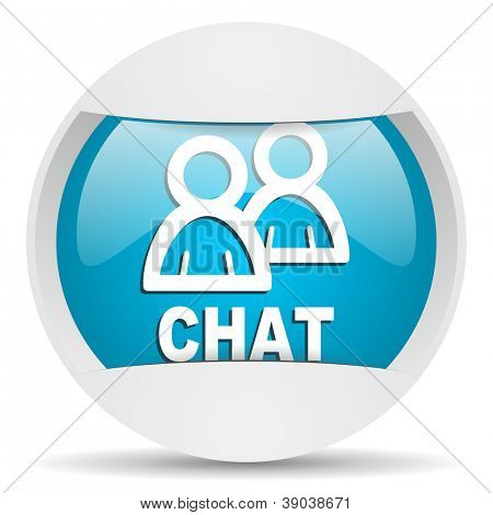 chat round blue web icon on white background