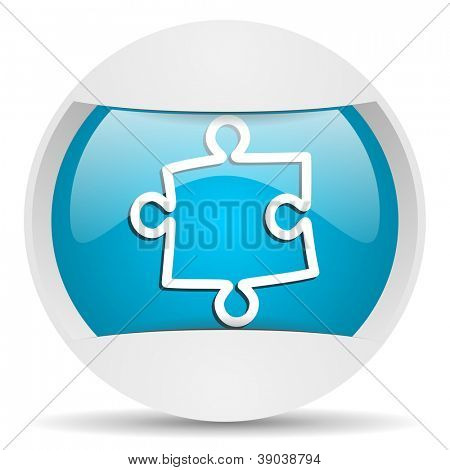 puzzle round blue web icon on white background