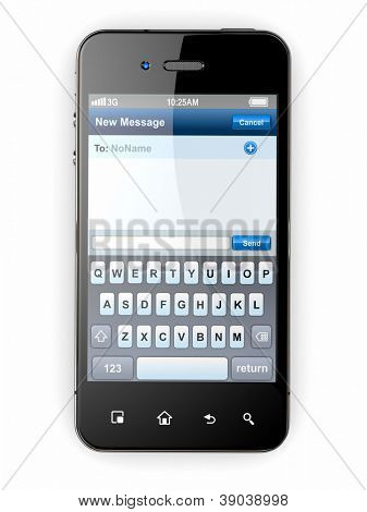 Mobile phone with sms menu screen. Space for text. 3d
