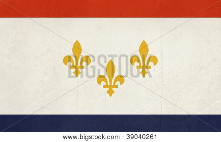 Grunge New Orleans city flag, state of Louisiana, U.S.A.