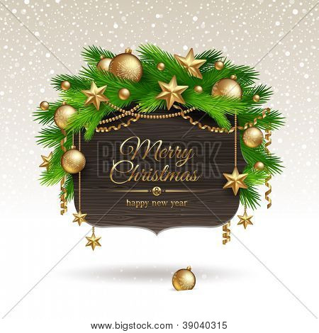 Wooden banner with Christmas golden decoration - vector illustration
