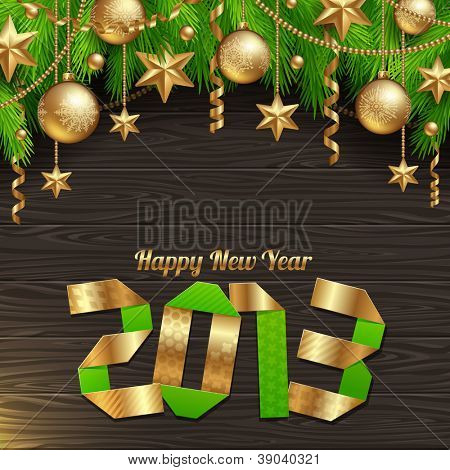 Happy 2013 new year - holidays vector illustration with golden decor
