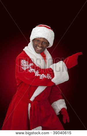 surprised black santa claus on a color background