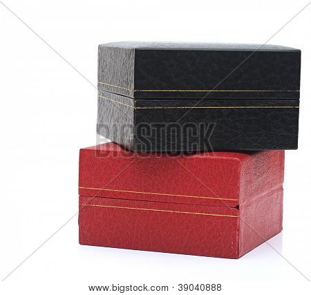 black and red gift boxes over white background